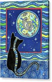 Pisces Cat Zodiac - Full Moon Acrylic Print
