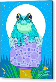 Acrylic Print featuring the digital art Full Moon Froggy  by Nick Gustafson