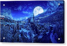 Full Moon Over A Winter Wonderland Acrylic Print