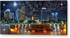 Full Moon Over Bayfront Park In Downtown Miami Acrylic Print