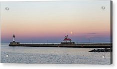 Full Moon Over Canal Park Acrylic Print by Penny Meyers