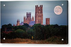 Acrylic Print featuring the photograph Full Moon Over Ely Cathedral by James Billings