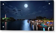 Full Moon Over Jupiter Lighthouse And Inlet In Florida Acrylic Print