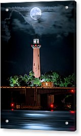 Full Moon Over Jupiter Lighthouse On Christmas Night 2015 Acrylic Print