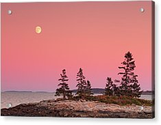 Acrylic Print featuring the photograph Full Moon Over Maine  by Emmanuel Panagiotakis