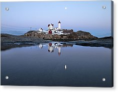 Full Moon Over Nubble Lighthouse Acrylic Print