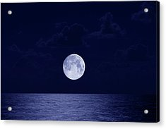 Full Moon Over Ocean, Night Acrylic Print by Buena Vista Images