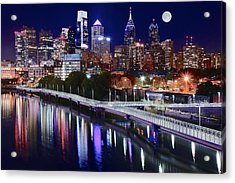 Full Moon Over Philly Acrylic Print by Frozen in Time Fine Art Photography