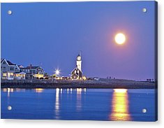 Acrylic Print featuring the photograph Full Moon Over Scituate Light by Susan Cole Kelly