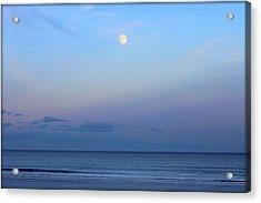 Full Moon Over The Atlantic Ocean In Rye, New Hampshire Acrylic Print