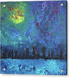 Full Moon Over Watercity Acrylic Print by Erik Tanghe