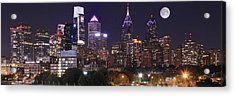 Full Moon Philly Panorama Acrylic Print by Frozen in Time Fine Art Photography