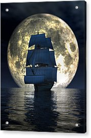 Full Moon Pirates Acrylic Print by Daniel Eskridge