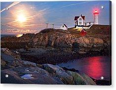 Full Moon Rise At Nubble Lighthouse Acrylic Print