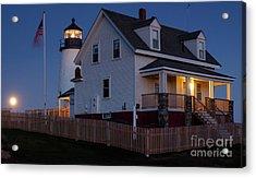 Full Moon Rise At Pemaquid Light, Bristol, Maine -150858 Acrylic Print