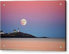 Full Moon Rising At Nubble Light Acrylic Print