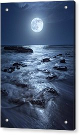 Full Moon Rising Over Coral Cove Beach In Jupiter, Florida Acrylic Print