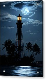 Full Moon Rising Over Hillsboro Lighthouse In Pompano Beach Florida Acrylic Print