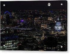 Full Color Moon Rising Over London Skyline  Acrylic Print