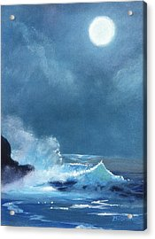 Full Moon Seascape Acrylic Print
