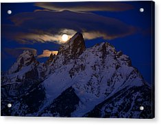 Full Moon Sets Over The Grand Teton Acrylic Print