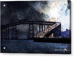 Full Moon Surreal Night At The Bay Area Richmond-san Rafael Bridge - 5d18440 Acrylic Print by Wingsdomain Art and Photography