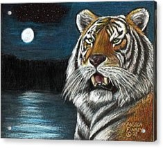 Full Moon Tiger Acrylic Print by Angela Finney