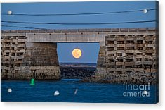 Full Moon Under The Cribstone Bridge Acrylic Print by Benjamin Williamson