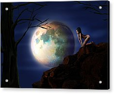 Full Moon Acrylic Print by Virginia Palomeque