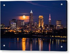 Full Moonrise Over Cleveland Acrylic Print by Dale Kincaid