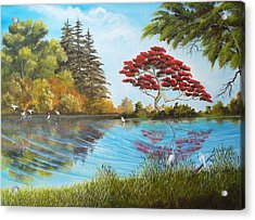 Full Red Tree Acrylic Print by Dennis Vebert