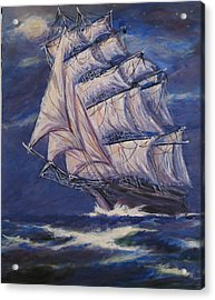 Full Sails Under Full Moon Acrylic Print by Thomas Restifo