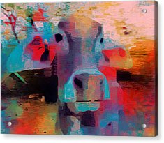 Fun Pink Blue Abstract Cow Rajasthan India 1b Acrylic Print by Sue Jacobi