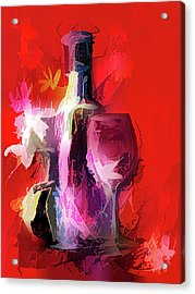Fun Colorful Modern Wine Art   Acrylic Print