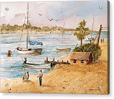 Fun In The Sun - Watercolor Acrylic Print by Barry Jones