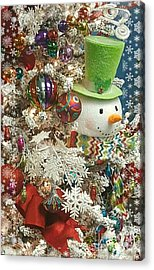 Fun Snowman Holiday Greeting Acrylic Print