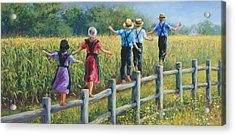 Girls Can To Acrylic Print by Laurie Hein