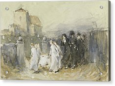 Funeral Of The First Born Acrylic Print by Frank Holl