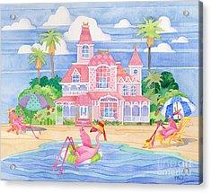 Funky Flamingo Hotel II Acrylic Print by Paul Brent