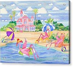 Funky Flamingo Hotel IIi Acrylic Print by Paul Brent