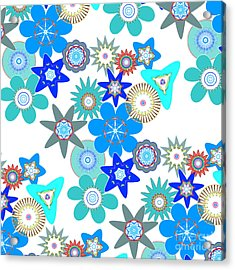 Funky Flower Pattern Acrylic Print by Methune Hively