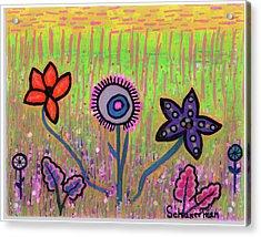 Funky Flowers In A Field Of Green Acrylic Print by Susan Schanerman