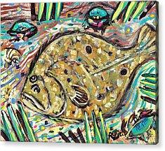 Funky Folk Flounder Acrylic Print by Robert Wolverton Jr