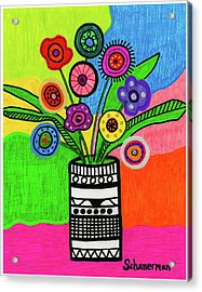 Funky Folk Flowers Acrylic Print