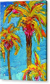 Funky Fun Palm Trees - Modern Impressionist Knife Palette Oil Painting Acrylic Print