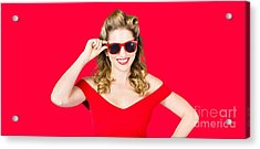 Funky Hip Pin-up Blonde In Summer Sunglasses Acrylic Print
