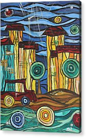 Acrylic Print featuring the painting Funky Town by Sladjana Lazarevic