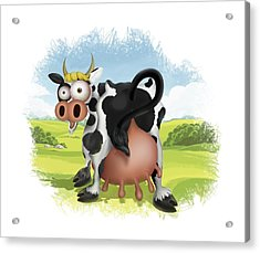 Acrylic Print featuring the drawing Funny Cow by Julia Art