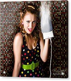 Funny Cute Cleaning Woman Ironing Retro Fashion Acrylic Print
