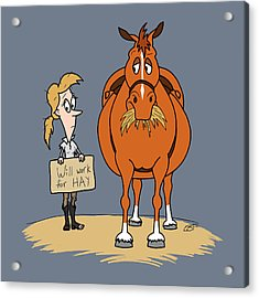 Funny Fat Cartoon Horse Woman Will Work For Hay Acrylic Print by Crista Forest
